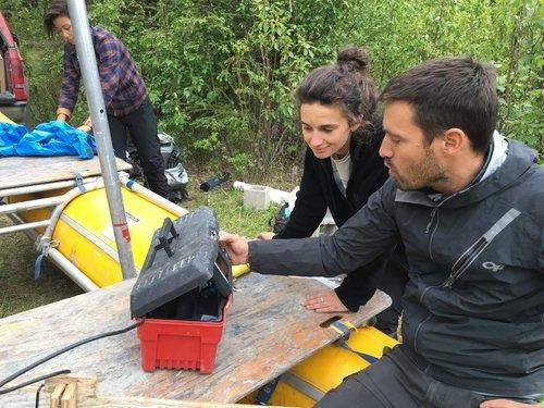 Ellie Broadman and David Fortin getting ready to create a bathymetric map at Sunken Island Lake