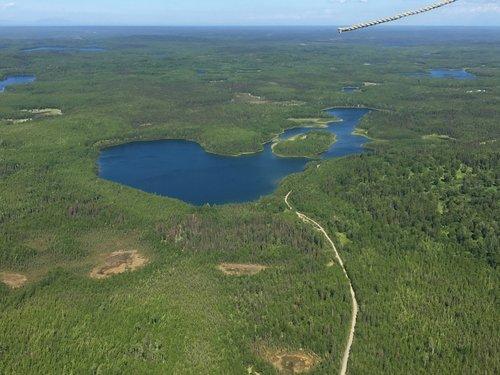 Aerial view of Sunken Island Lake