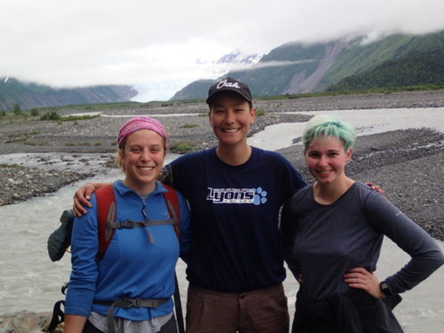 Emmy Wrobleski, Annie Wong, and Abby Boak on a hike along the Skilak River, toward Skilak glacier