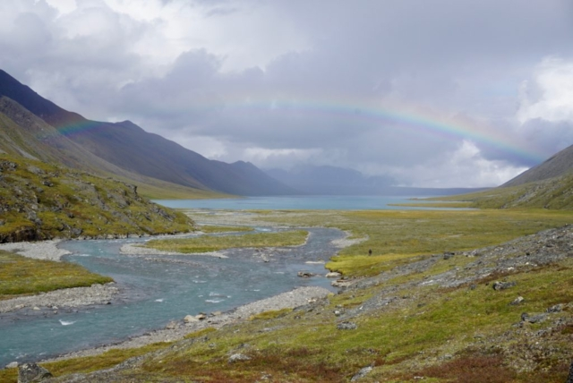 Rainbow over Lake Peters from the Carnivore Creek outflow