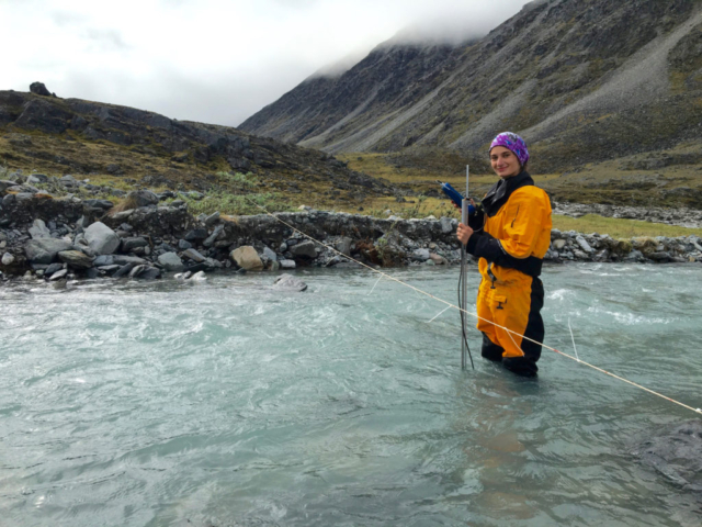 Ellie Broadman collecting discharge data in Carnivore Creek