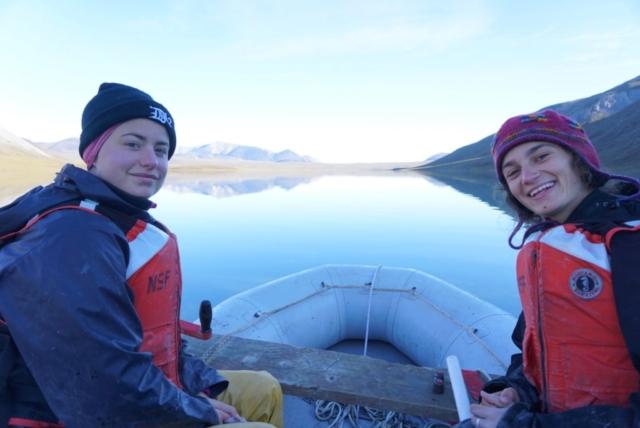 Stephanie Arcusa and Ellie Broadman on Lake Peters