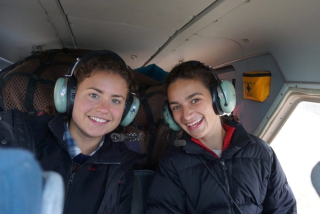 Stephanie Arcusa and Ellie Broadman in plane to Lake Peters